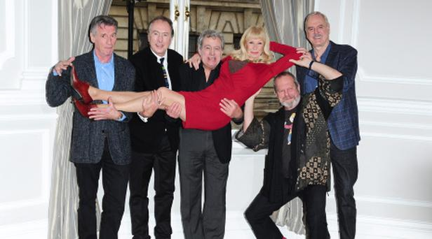 (Left-right) Michael Palin, Eric Idle, Terry Jones, Carol Cleveland, Terry Gilliam and John Cleese announce their new plans for Monty Python at the Corinthia Hotel in London. PRESS ASSOCIATION Photo. Picture date: Thursday November 21, 2013. Photo credit should read: Ian West/PA Wire