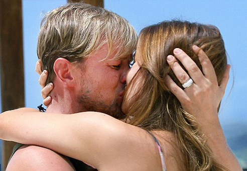 Westlife star Kian Egan fell apart as he was reunited with his wife Jodi Albert.