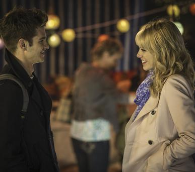 Adorable: Andrew Garfield and Emma Stone in The Amazing Spider-Man 2
