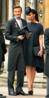 David and Victoria Beckham at the royal wedding in 2011