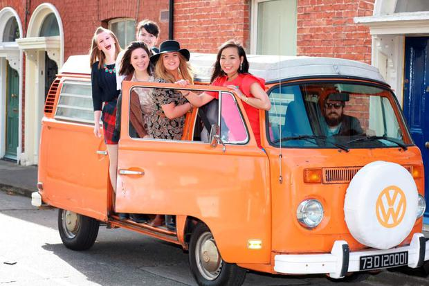 Ella de Guzman and her girls - Tanya, Eileen, Sinead and Ciara - and Steve driving, arrive in the orange VW camper van for a Closet Cleanout