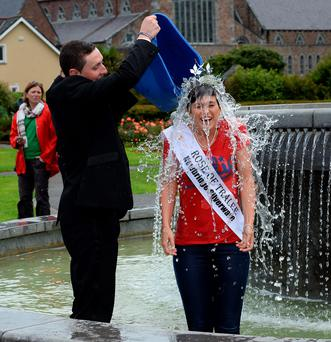 The 2014 Rose of Tralee Maria Walsh has taken the Ice Bucket Challenge for motor neuron disease in the Tralee Town Park fountain