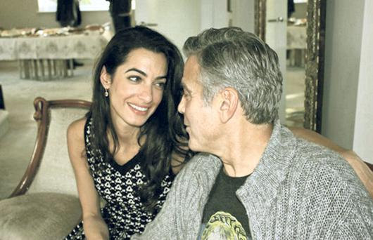 The Look of Love: Amal Alamuddin and her husband-to-be George Clooney. Photo: Getty