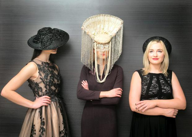 Milliner Margaret O Connor ( on right ) with models Abbie Harris and Sarah Morrissey wearing her designs in Brown Thomas Dublin as the store unveiled the 4th annual Irish Designers CREATE.