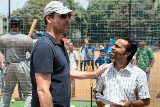 Jon Hamm (left) as JB Bernstein and Pitobash as his right hand man Amit in Million Dollar Arm