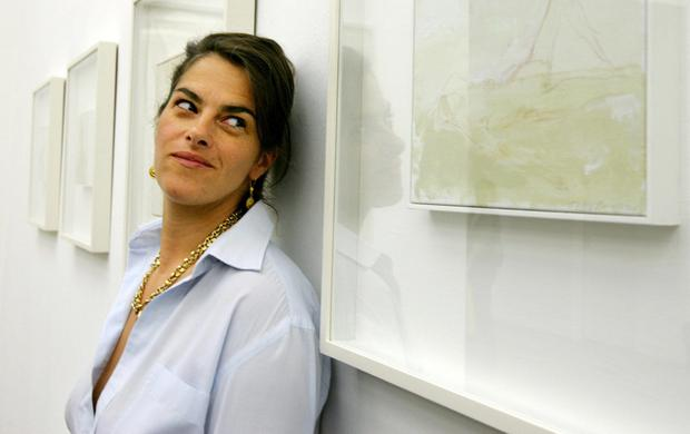 STANDING BY HER ART: Tracey Emin poses next to one of her works at her show entitled 'When I Think about Sex...' at the White Cube Gallery in London. Photo: Getty Images