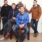 Tommy Bowe with Rob Kearney, Andrew Trimble and Paddy Wallace at the launch of the latest collections from his range from XVKings. Photo: Leon Farrell/Photocall Ireland.