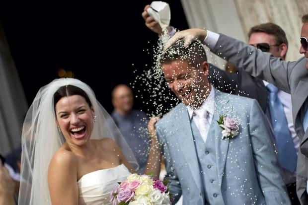 Caroline Morahan on her wedding day to Daithi O Caoimh