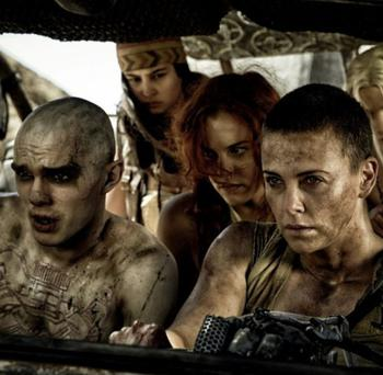 Charlize Theron, Nicholas Hoult and Rosie Huntington-Whiteley in Mad Max: Fury Road (2015)