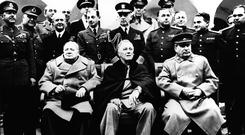 Winston Churchill with Franklin D Roosevelt and Josef Stalin with their advisers at the Yalta Agreement talks in February 1945.