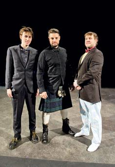 Pictured are (LtoR) Reeve Carney, of Penny Dreadful, Keith Duffy, Coronation Street, and Peter Coonan, of Love/Hate at rehearsals in the Peacock Theatre for The 24 Hour Plays. Photo: El Keegan