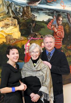 Pictured are Anne Hodge (Curator of Prints and Drawings, NGI), Catherine Marshall (scholar and curator)and Colin Davidson PRUA (artist) - the judging panel for the Hennessy Portrait Prize 2015.