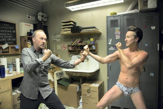Michael Keaton, left, and Edward Norton in a scene from 'Birdman'. Photo: AP Photo.