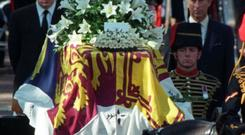 Charles Spencer walks behind the coffin of Princess Diana