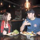 Tucking in: Bressie and Vicki enjoy lunchtime steaks and baked sweet potatoes at BEAR, South William Street