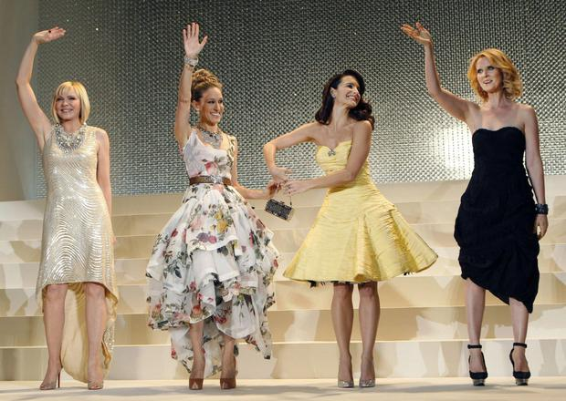 Kim Cattrall with her co-stars at the premiere of Sex and The City in Japan.
