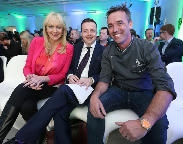 Miriam O'Callaghan, Oliver Callan and Kevin Dundon at the launch of RTE's new global online irish television service for international audiences. Photo: Damien Eagers