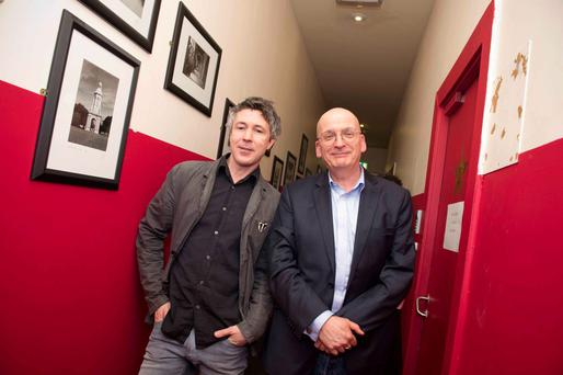 Actor Aidan Gillen and author Roddy Doyle backstage at the interval at Barrytown Meets Musictown at Vicar Street