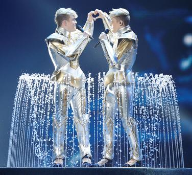 Euro memories: Jedward on stage in Baku