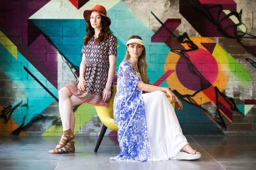 Pictured, (left to right) January wears a dress (€10), bangles (€5) and (€3), hat (€10), sandals (€13) and Daniella wears Visor (€3), kimono (€15), dress (€16), shoes (€24). Photo: Leon Farrell