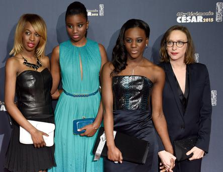 The stars of Girlhood, from left, Marietou Toure, Karidja Toure and Assa Sylla, and Celine Sciamma