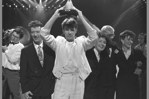 Euro star: Johnny Logan celebrates his second Eurovision win with 'Hold Me Now' in 1987