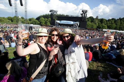 Fans Noirin Lavin, Denise McKenna and Sheena Callan, Dundalk at the Bon Jovi concert at Slane Castle in county Meath. Picture:Arthur Carron/Collins