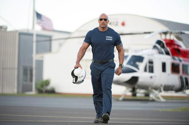 Action-packed: Dwayne 'The Rock' Johnson flexes his best assets in 'San Andreas', with a sliver of acting