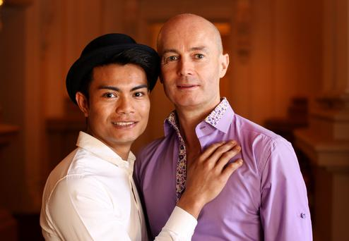 Dapper duo: Niall Morris and Woody Prompan turned a Thai holiday romance into a civil partnership, and they held their for 40 people at L'Ecrivain. Photo: Gerry Mooney.