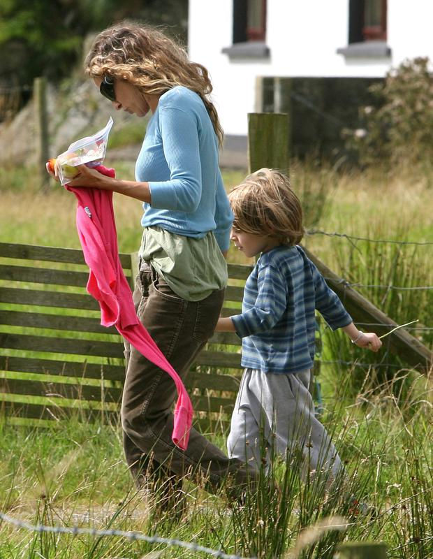 Hollywood star Sarah Jessica Parker and their son James Wilkie walking near their cottage home in Kilybegs, Co Donegal