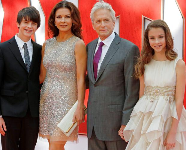 Family outing: Michael Douglas with his wife Catherine Zeta-Jones and their children Dylan and Cerys at the London premiere of Ant-Man. Photo: Luke McGregor.