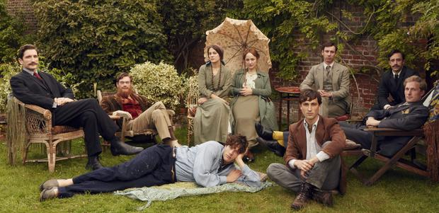 The Bloomsbury set, as portrayed in the BBC drama Life in Squares, with, centre and seated, Vanessa Bell (Phoebe Fox) and Virginia Woolf (Lydia Leonard). Photo: Robert Viglasky/Ecosse films.