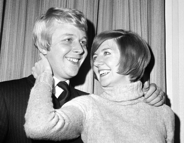 British pop singer Cilla Balck smiles with her fiance Bobby Willis, in Mayfair, London in 1969. Photo: AP
