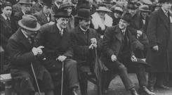 Man of destiny: Eamon de Valera (second left) with Arthur Griffith and Michael Collins