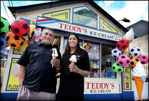 Yasmin Khan and her father Brian Khan who own Teddy's Ice Cream on Bray Seafront