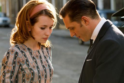 Twin trouble: Tom Hardy as Reggie Kray and Emily Browning as his wife Frances Shea in Legend