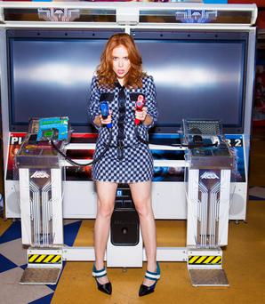 Angela Scanlon: Skirt suit; shoes, both Louis Vuitton Vuitton