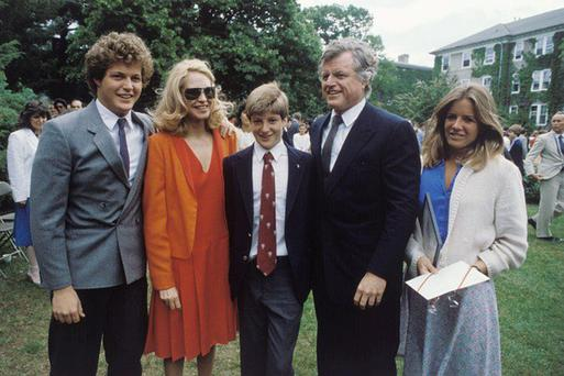 Family time: Members of the Kennedy family at Patrick's High School graduation in June, 1983. From left, Patrick's brother Ted Jr, his mother Joan, Patrick himself, his father Ted and his sister Kara. Photo: Getty Images.