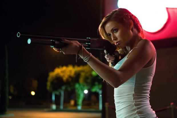 Silly: Sarah Dumont plays a zombie-killing stripper in 'Scout's Guide to the Zombie Apocalypse'