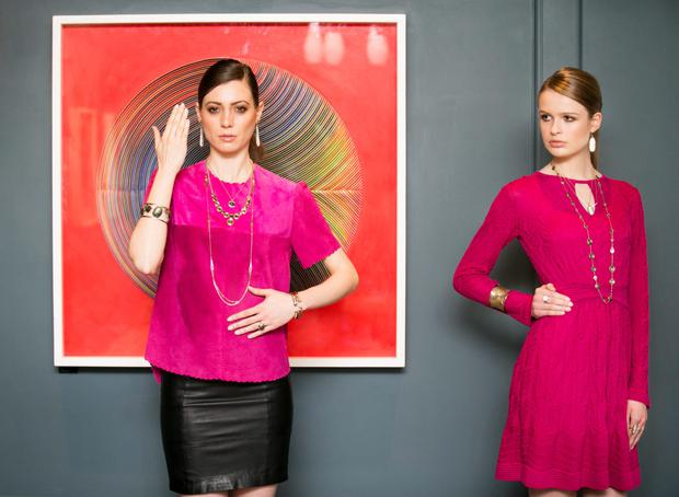 Models Paloma Feijoo and Alicia Kavanagh model jewellery from LA-based designer and entrepreneur Melinda Maria