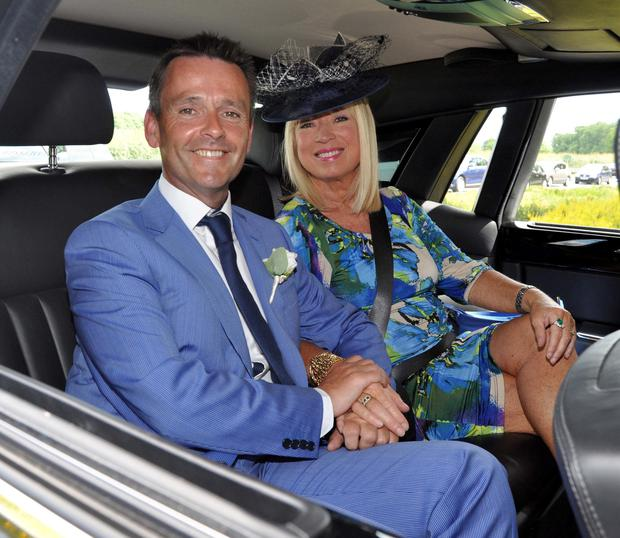 Anne Doyle with former RTE colleague Aengus McGrianna, who she gave away at his 2014 wedding