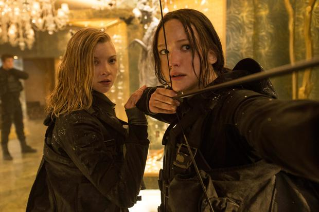 Game over: Natalie Dormer as Cressida and Jennifer Lawrence as Katniss in the final instalment of The Hunger Games.