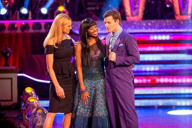 REJECTION: Tess Daly (left) with Jamelia and Tristan MacManus on the Strictly Come Dancing results show