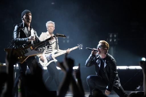U2 on stage at the AccorHotels Arena in Bercy, Paris, last night