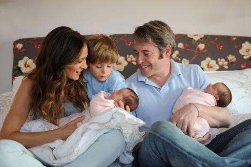 Sarah Jessica Parker and Matthew Broderick and their son James Wilkie welcomed twin girls born via surrogacy in 2009.