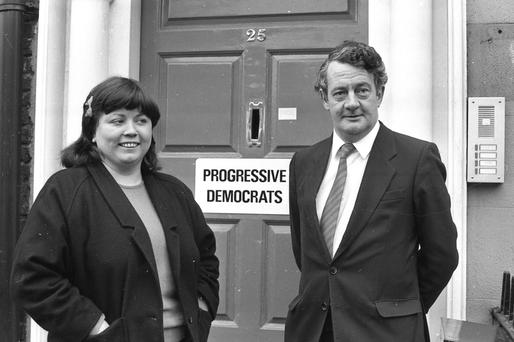 Des O'Malley and Mary Harney at the Offices of the newly formed Progressive Democrats in 1985.