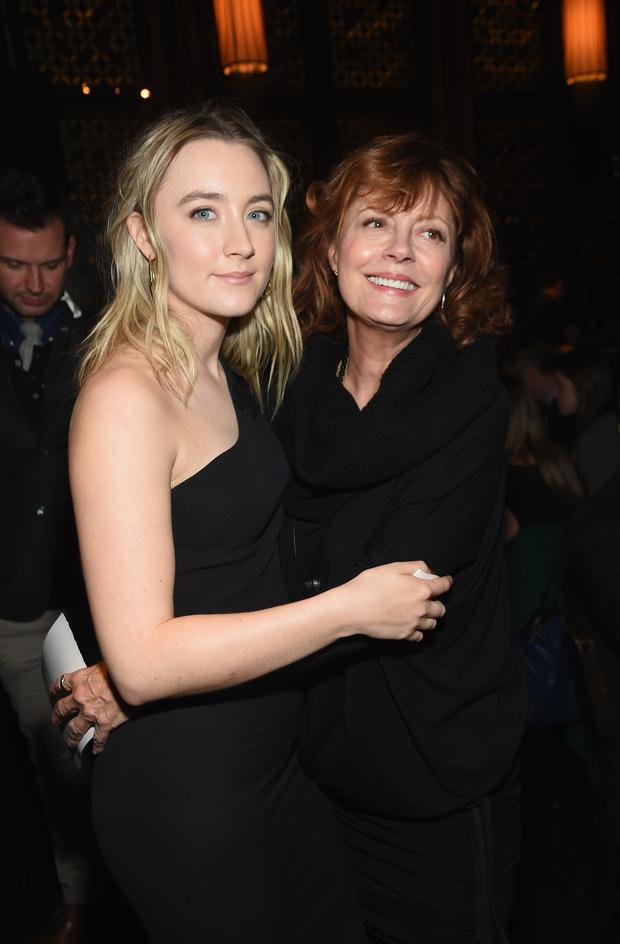 Actors Saoirse Ronan (L) and Susan Sarandon attend 2015 New York Film Critics Circle Awards at TAO Downtown on January 4, 2016 in New York City. (Photo by Jamie McCarthy/Getty Images)