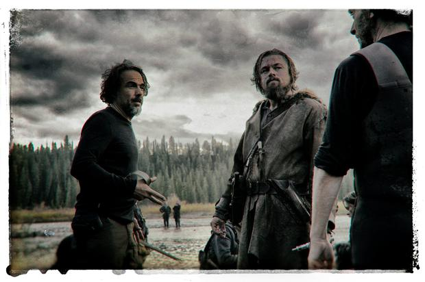 Oscar-tipped: Director Alejandro G Inarritu and Leonardo DiCaprio on the set of The Revenant