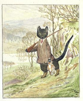 Unearthed: Kitty the black cat from Beatrix Potter's 'Kitty-in-Boots', who dresses as a poacher in a gentleman's jacket.