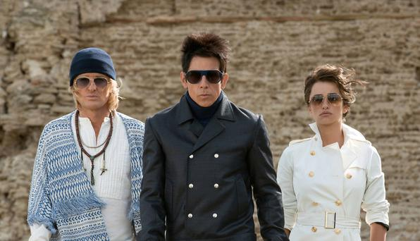 'Flamboyant': Owen Wilson, Ben Stiller and Penelope Cruz in 'Zoolander No. 2'.